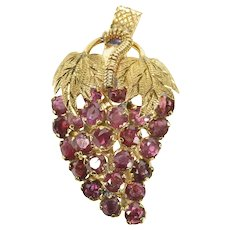 14K 2.16 Ctw Ruby Grape Bunch Cluster Art's & Crafts Pin/Brooch Yellow Gold [CXXW]