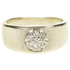 14K Round Diamond Cluster Retro Textured Band Ring Size 5.75 White Gold [CXQX]