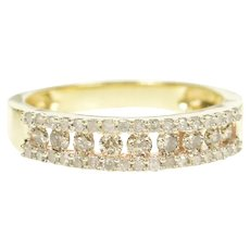 10K 0.44 Ctw Diamond Classic Tiered Wedding Band Ring Size 6 Yellow Gold [CXQX]