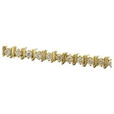 "14K 2.52 Ctw Diamond Wavy Link Classic Tennis Bracelet 7"" Yellow Gold [CXQX]"