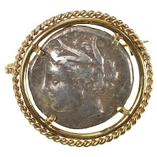 14K Ancient Greek Coin Rope Trim Statement Pin/Brooch Yellow Gold [CXQX]