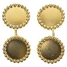 14K Tiffany & Co. Round Scalloped Trim Men's Cuff Links Yellow Gold [CXQX]