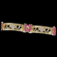 "14K Ruby Flower Cluster Diamond Bar Link Tennis Bracelet 7"" Yellow Gold [CXQX]"
