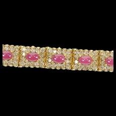 """14K 13.80 Ctw Ruby Cabochon Diamond Halo Tennis Bracelet 7"""" Yellow Gold [CXQX]"""