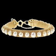"14K Retro 1960's Pearl Mesh Chain Statement Bracelet 7.25"" Yellow Gold [CXQX]"