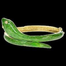 """14K 1960's Diamond Eyed Green Enamel Serpent Bracelet 6.75"""" Yellow Gold [CXQX]"""