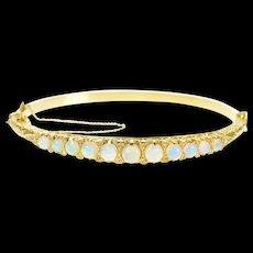 "14K Victorian Opal Diamond Scrollwork Bangle Bracelet 7.25"" Yellow Gold [CXQX]"