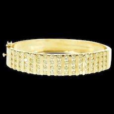"""14K 5.44 Ctw Diamond Bar Channel Wide Bangle Bracelet 7"""" Yellow Gold [CXQX]"""
