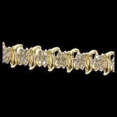 "10K 0.99 Ctw Diamond Cluster Wavy Link Tennis Bracelet 7.25"" Yellow Gold [CXQX]"