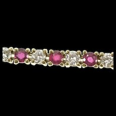 "14K 5.28 Ctw Natural Ruby Diamond Classic Tennis Bracelet 7"" Yellow Gold [CXQX]"