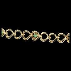 "10K Emerald Loop Heart Link Tennis Bracelet 7"" Yellow Gold [CXQX]"