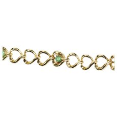 "10K Emerald Loop Heart Link Tennis Bracelet 7"" Yellow Gold [CXQX]"
