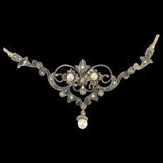 "14K Edwardian Diamond Pearl Scroll Pendant Necklace 16.25"" Yellow Gold [CXQX]"