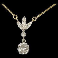 "14K 1.11 Ctw Diamond Floral Drop Serpentine Link Necklace 16.5"" Yellow Gold [CXQX]"