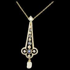 "14K Victorian Sapphire Pearl Enamel Drop Necklace 16.5"" Yellow Gold [CXQX]"