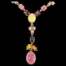 "18K Tourmaline Citrine Floral Drop Statement Necklace 17"" Yellow Gold [CXQX]"