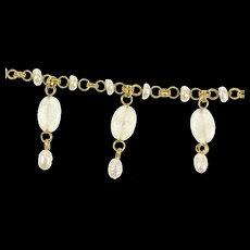 "14K Stephen Dweck Pearl Moonstone Fringe Necklace 15.25"" Yellow Gold [CXQX]"