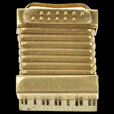 14K 3D Articulated Accordion Musical Instrument Charm/Pendant Yellow Gold [CXQX]