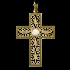 18K 0.22 Ct Rose Cut Diamond Filigree Cross Pendant Yellow Gold [CXQX]