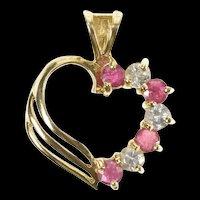 10K 0.48 Ctw Diamond Ruby Classic Heart Love Pendant Yellow Gold [CXQX]