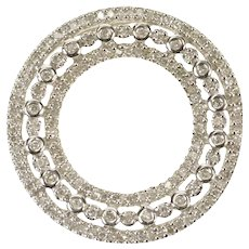 14K 0.72 Ctw Pave Diamond Circle Tiered Ring Pendant White Gold [CXXK]