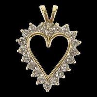 10K 0.80 Ctw Diamond Classic Heart Love Symbol Pendant Yellow Gold [CXQX]