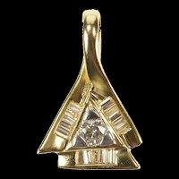 14K 0.36 Ctw Diamond Triangle Halo Geometric Pendant Yellow Gold [CXQX]