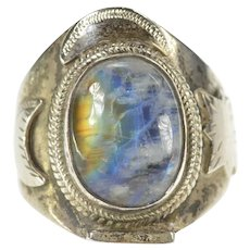 Sterling Silver Moon Star Space Motif Moonstone Statement Ring Size 11.5  [CXXK]