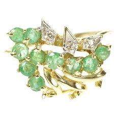 14K Emerald Diamond Freeform Cluster Statement Ring Size 7 Yellow Gold [CXXS]