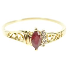 14K Marquise Ruby Diamond Accent Scroll Filigree Ring Size 8.5 Yellow Gold [CXXS]