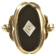 10K 1940's Black Onyx Ornate Diamond Overlay Ring Size 5.5 Yellow Gold [CXXS]