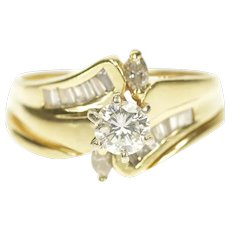 14K 0.89 Ctw Diamond Bypass Bridal Set Engagement Ring Size 8 Yellow Gold [CXXR]