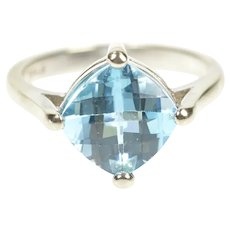 14K Cushion Faceted Blue Topaz Statement Ring Size 6.5 White Gold [CXQX]