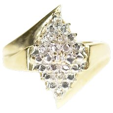 10K Diamond Accent Two Tone Cluster Statement Ring Size 5.5 Yellow Gold [CXQQ]