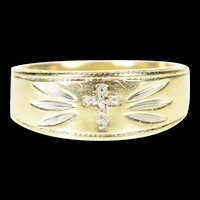 10K Men's Diamond Cross Christian Faith Grooved Ring Size 10.25 Yellow Gold [CXXP]