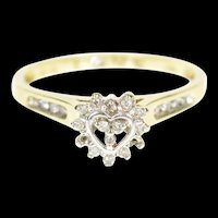 10K Heart Diamond Inset Halo Love Promise Ring Size 7 Yellow Gold [CXXP]