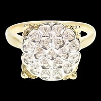 10K Diamond Inset Accent Textured Squared Retro Ring Size 6 Yellow Gold [CXXP]