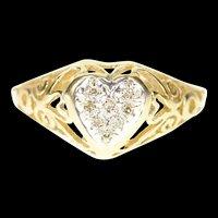 10K Diamond Inset Heart Love Symbol Retro Ring Size 6 Yellow Gold [CXXP]