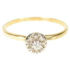 10K Retro Round Diamond Halo Cluster Promise Ring Size 6.5 Yellow Gold [CXXP]