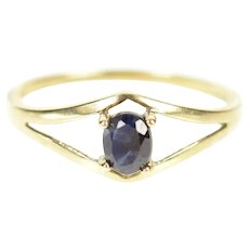 10K Oval Sapphire Solitaire Classic Statement Ring Size 7.75 Yellow Gold [CXXP]