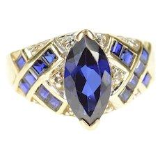 10K Syn. Sapphire Criss Cross Diamond Accent Ring Size 6.75 Yellow Gold [CXXP]