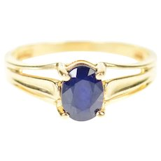 10K Oval Cut Natural Sapphire Solitaire Ring Size 6 Yellow Gold [CXXP]