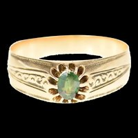 14K Victorian Ornate Etched Syn. Emerald Ring Size 9.25 Yellow Gold [CXQQ]