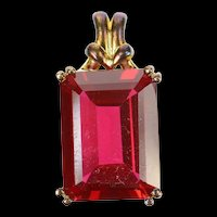 10K Emerald Cut Syn. Ruby Solitaire Statement Pendant Yellow Gold [CXQQ]