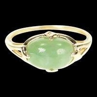 14K Ornate Retro Oval Jade Cabochon Statement Ring Size 9.25 Yellow Gold [CXQQ]