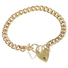 "10K Victorian Ornate Heart Padlock Lock Chain Bracelet 6.75"" Yellow Gold [CXXP]"