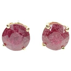 10K 2.44 Ctw Natural Ruby Solitaire Stud Earrings Yellow Gold [CXXP]