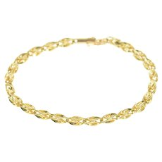 "14K 3.8mm Squared Geometric Fancy Link Chain Bracelet 6.75"" Yellow Gold [CXXP]"