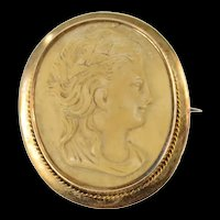 14K Ornate Carved Alabaster Lady Cameo Pin/Brooch Yellow Gold [CXQQ]