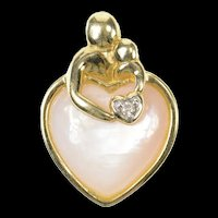 10K Pink Mother of Pearl Heart Mother's Day Pendant Yellow Gold [CXQQ]
